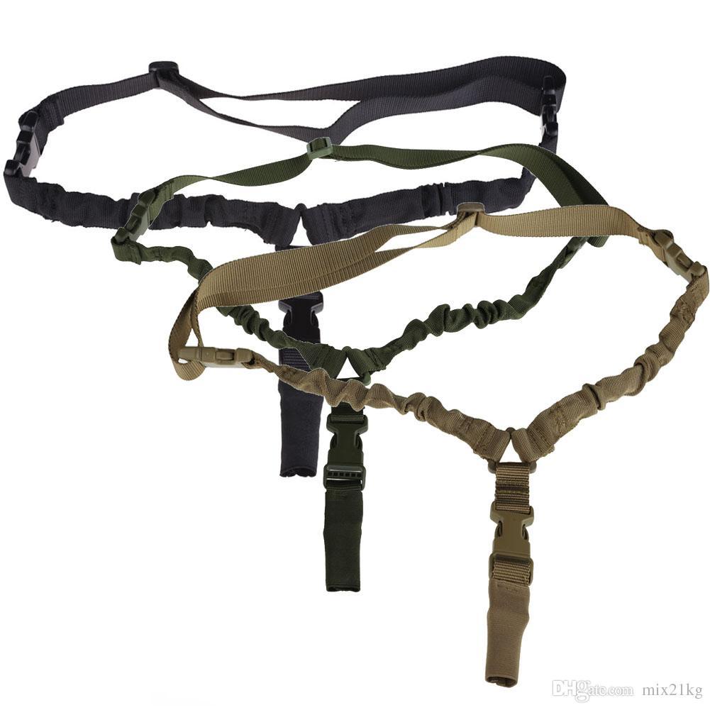 1000D Heavy Duty Tactical One 1 Único Ponto Sling Ajustável Bungee Rifle Gun Sling Strap para Airsoft Caça Militar 3 Cores