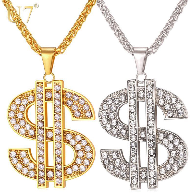 Nous Dollar Dollar Collier Pendentif En Acier Inoxydable 316l Or Couleur Chaîne Pour Femmes Hommes Strass Hip Hop Bling Bijoux Accessoire P1003