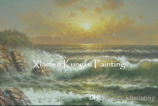 100% hand painted high quality canvas ocean waves oil painting pictures on the wall abs005
