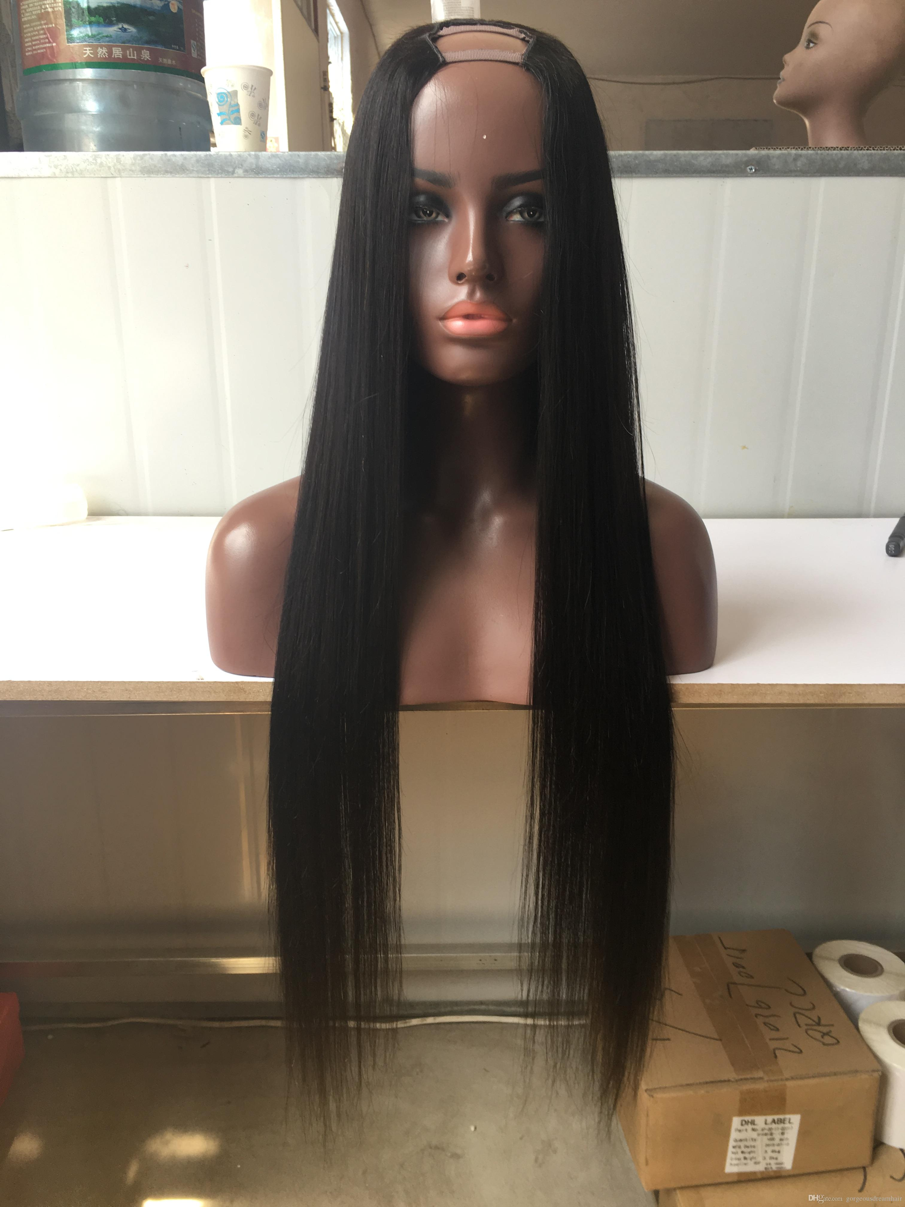 8-24inch Silk Straight Human Hair U Part Wigs Human Hair Wigs Middle/Left/Right U part None Lace Wig for Black Women
