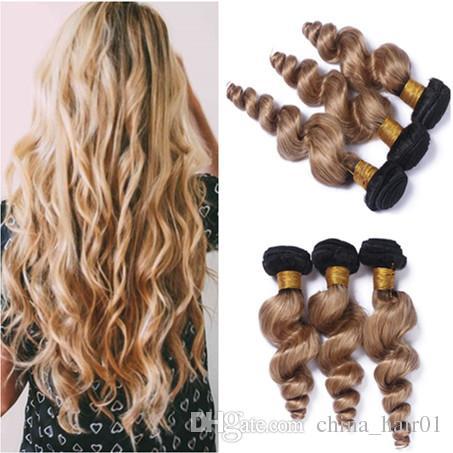 Cheap Indian Virgin Human Hair Ombre Honey Blonde Weave Bundles 3Pcs Loose Wave Wavy #1B/27 Light Brown Ombre Human Hair Weft Extensions