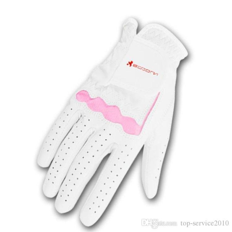 BOODUN luva de golfe fornece couro de pele de carneiro luvas senhoras rosa para uma mão cada (esquerda ou mão direita) Epacket post livre