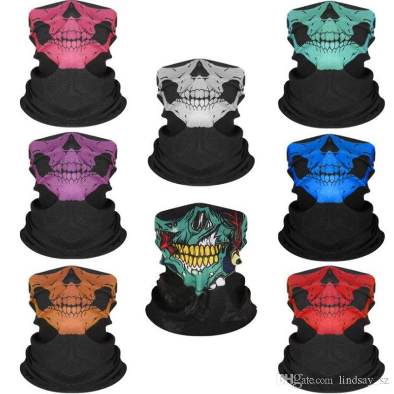 Cool Skull Design máscaras do partido cachecol Adultos Multi cor Esporte Motociclista Motociclista Cachecol Meia Máscara Facial Esporte Headband máscaras rápido