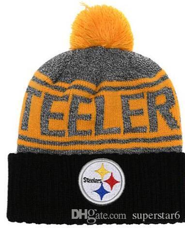 Top Selling Pittsburgh gorro PIT beanies Sideline Tempo Frio Reverter Esporte Cuffed Chapéu De Malha com Pom Winer Crânio Caps