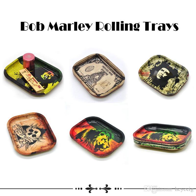 Bob Marley Rolling Tray Metal Tobacco Rolling Paper Travel Size 18cm*14cm*1.5cm Handroller Roll Trays Bob Marley Grinder