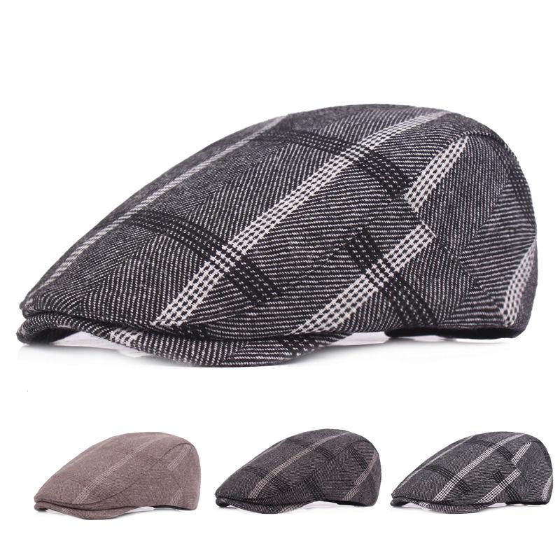 High Quality Fashion Cotton Fabric Mens Women Cabby Newsboy Hats Ivy Cap Retro Plaid Berets Unisex Casual Casquette