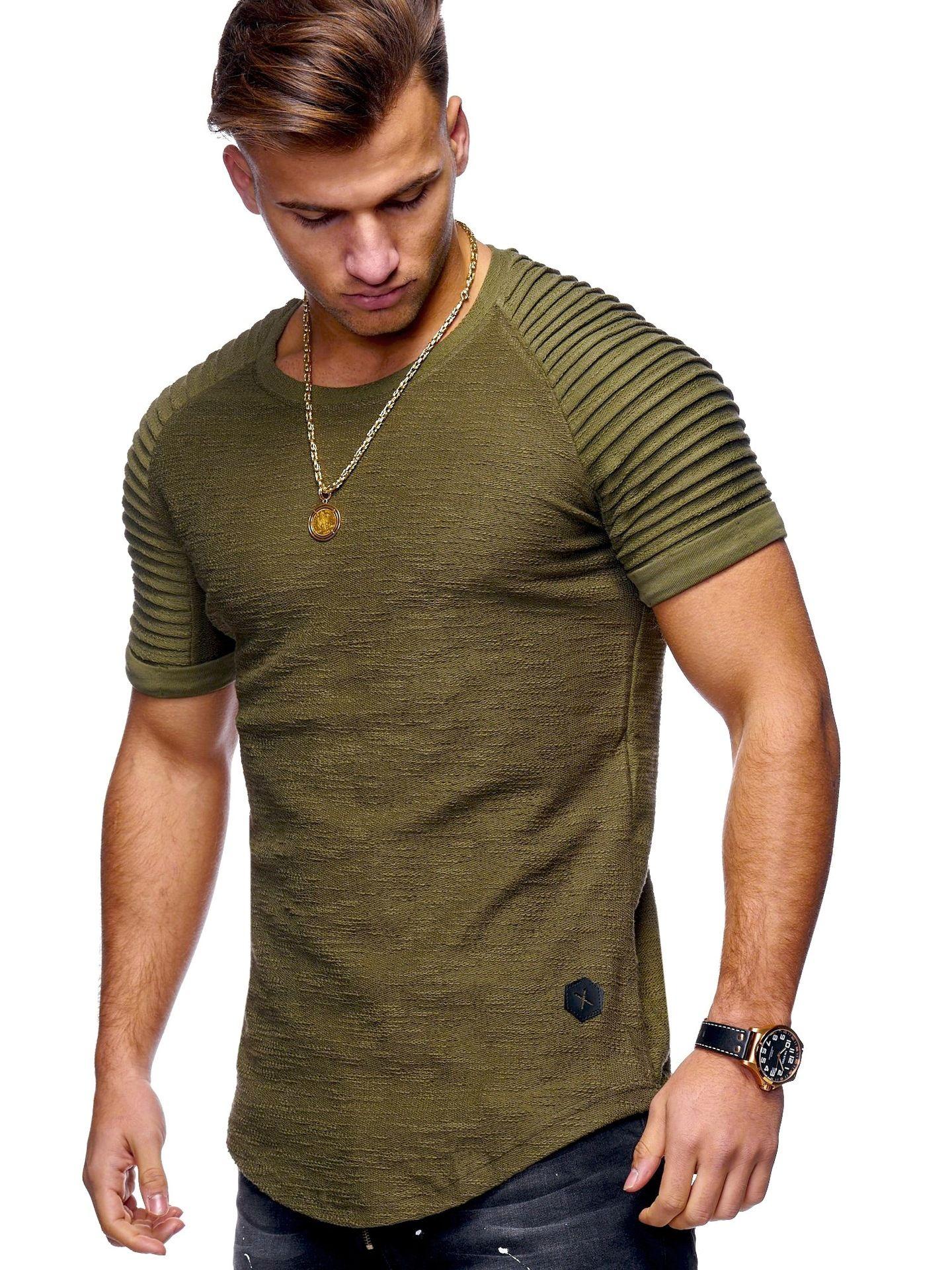 Short Sleeve Men T Shirt Pleated Shoulder Jacquard Striped Slim Fit T-shirt Men Longline Hem Hip Hop Tshirt Streetwear