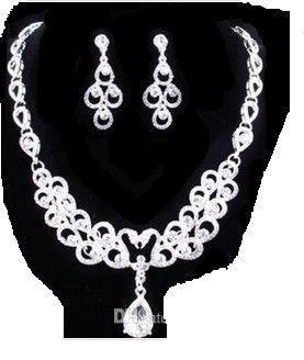 замечательный белый алмаз камень невесты свадебные украшения набор ожерелье серьги плохо