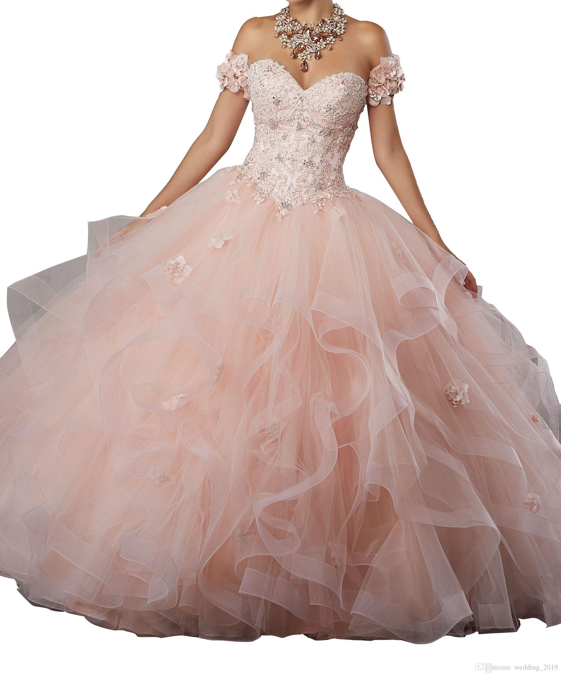 Quinceanera Dresses Heart shaped collar shoulders lace flower skirt multi layer net matted skirt tail pink pink tail dress custom mailing
