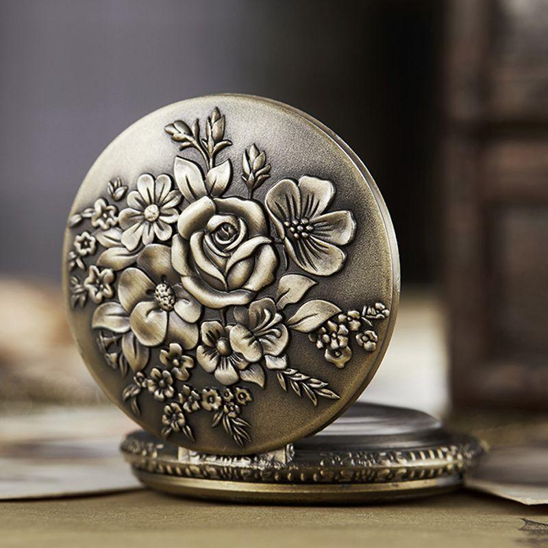 Древние карманные часы Fob цепи цветок розы Гравировка Мужские часы Флип Бронзовые часы дело Vintage Мужской часы для мужчин женщин Подарки