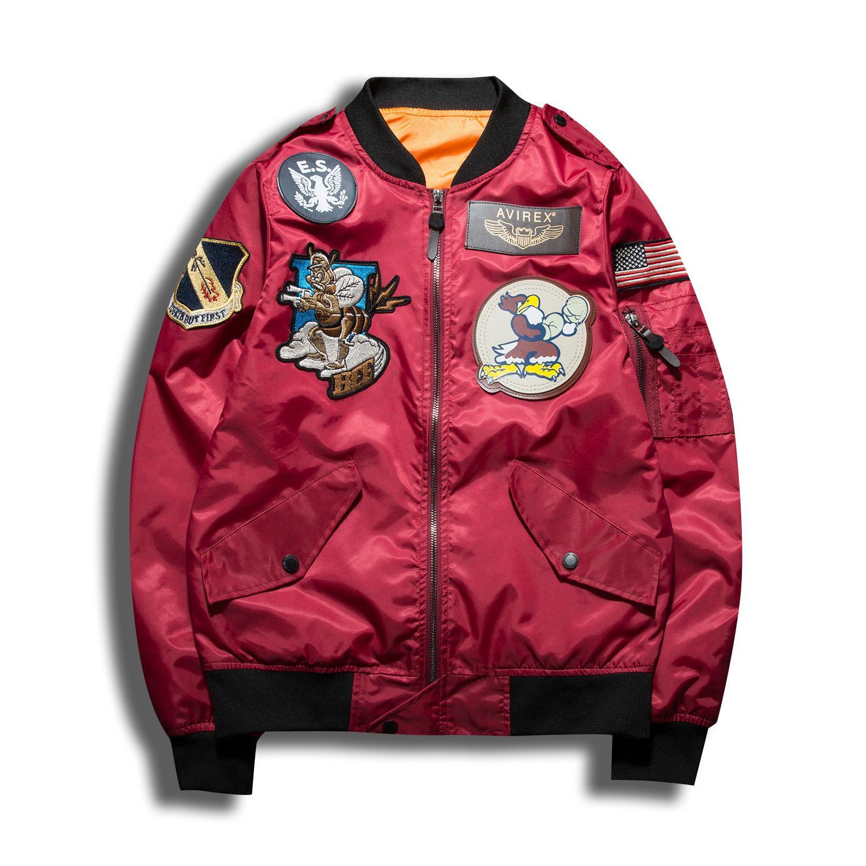 2018 chaqueta de bombardero hombres jaqueta masculina fuerza aérea 1 para hombre chaquetas y abrigos veste manteau homme Ejército chaqueta piloto piloto Verde Ejército