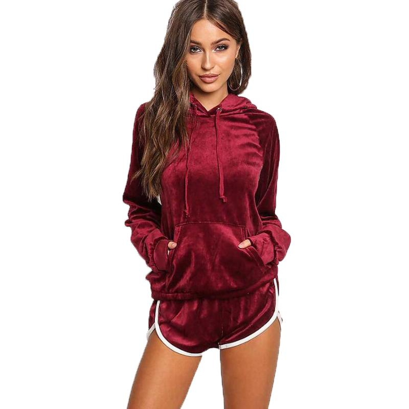 Ladies Sweat Suits Female Gold Velvet Tracksuit Women Two Piece Set Long Sleeve Hooded Hoodie+Short Pants Casual Sporting Suits