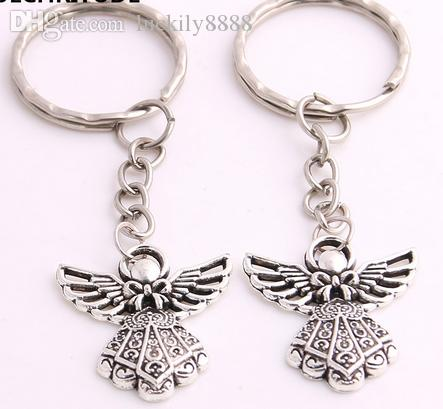 Fashion 20pcs/lot Key Ring Keychain Jewelry Silver Plated Angel Charms Jewelry Diy