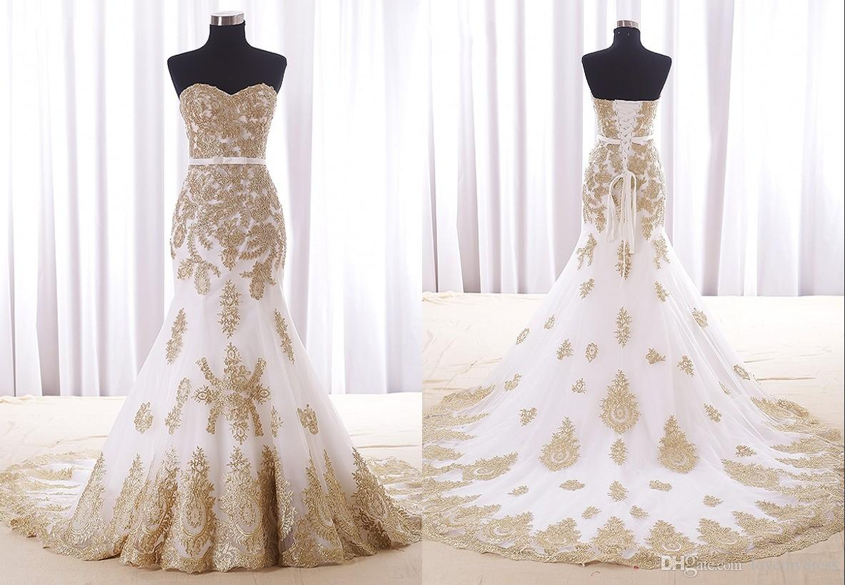 sexy mermaid white and gold wedding dress cheap real photos sweetheart chapel train applique lace bridal dress for women girls new wedding dresses