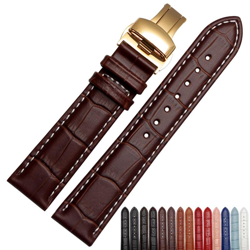 18mm 19mm 20mm 21mm 22mm Men's watch with a black leather strap with gold butterfly deployment clasp free shipping