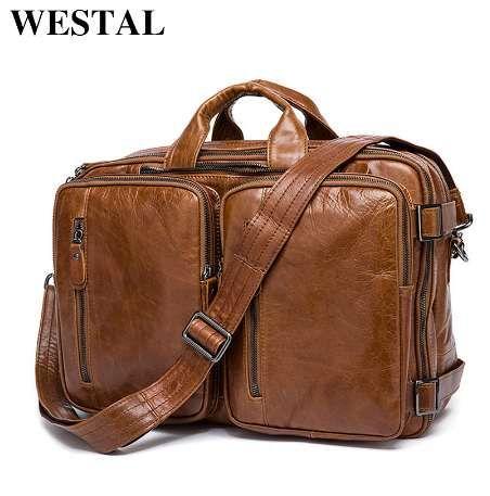 WESTAL Porte-documents pour hommes Fourre-tout sac de voyage sac pour ordinateur portable pour hommes document business Porte-documents en cuir en cuir véritable