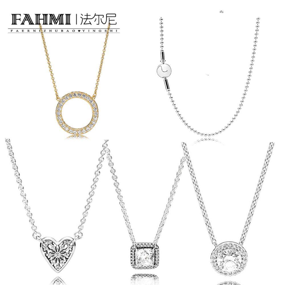 فهمي 100٪ 925 الفضة الاسترليني 590742HG لحظات الفضة قلادة مع جولة الذهب 14ct 590742HV بريق النساء