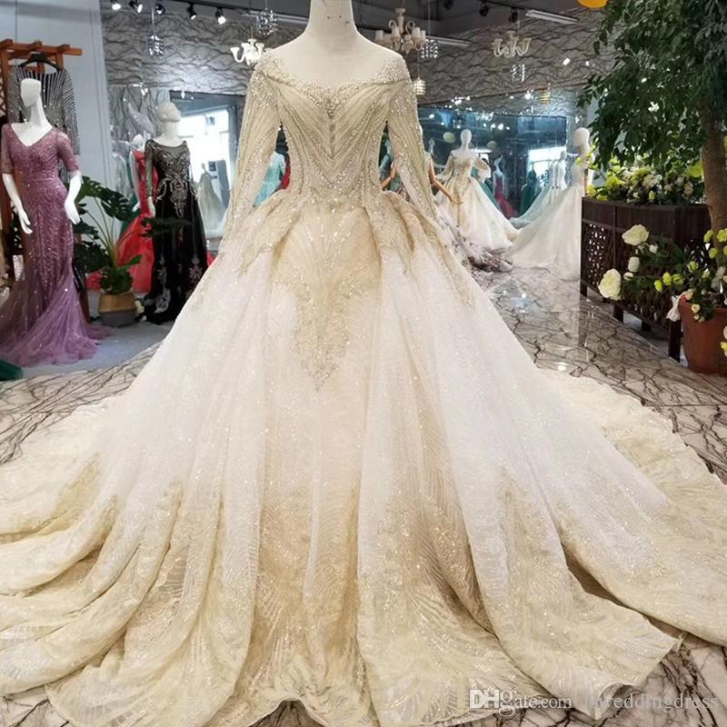 Luxury Dubai Wedding Gowns Glitter O-Neck Long Sleeve Shiny Lace Flowers Wedding Dresses Long Train Latest 2019 New Beaded Wedding Gown