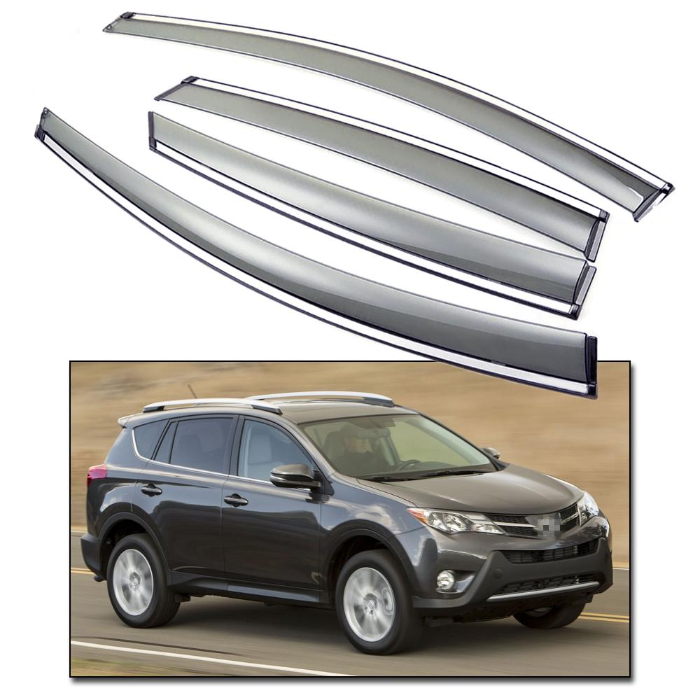 Front /& Rear Side Window Deflectors Visor Vent Shade for Toyota RAV4 2013-2015