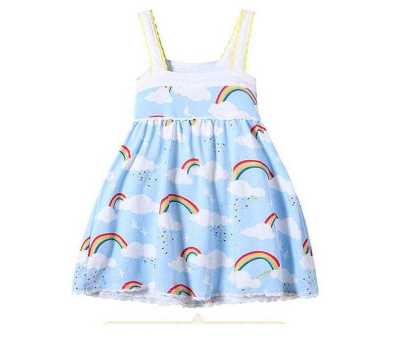 Girls Rainbow Vest Dress Cloud Sky Printed Lace Edge Design Suspender Skirt Soft Breathable Cool Cotton Fabric Summer Dresses B11