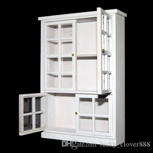 White Wooden Carbinet Display Book Shlef Showcase for 1//12 Dollhouse Furniture