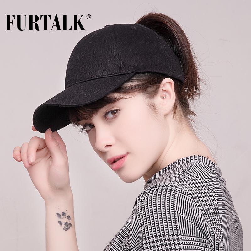 FURTALK recém-chegados rabo de cavalo boné de beisebol mulheres bagunçado Bun Baseball Hat Snapback HTPU007