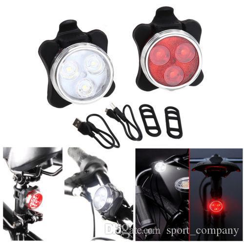 Wiederaufladbare LED Fahrrad USB Fahrrad Rot Vorne Hinten Radfahren Rücklicht