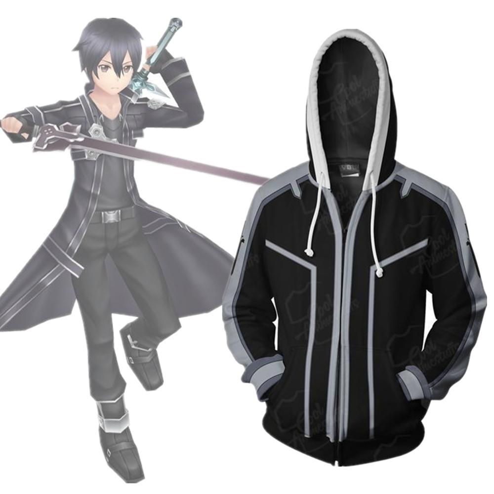 Asian Size Japan Anime Sword Art Online Kirito Cosplay Costume 3D manica lunga con cerniera cappotto giacca con cappuccio