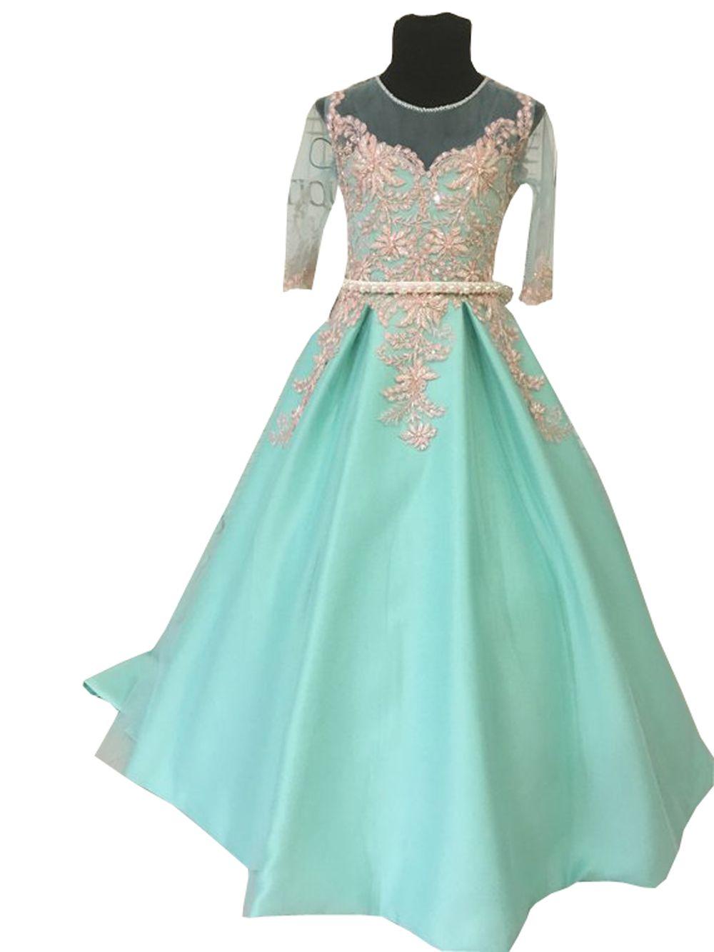 Mint Green Flower Girl Dresses 2019 Gold Applique Beaded Sheer Neckline 1/2 Long Sleeve Toddler Pageant Dresses First Communion Dress