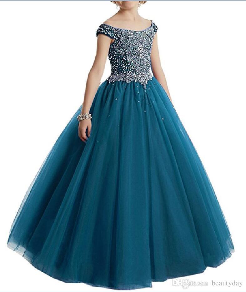 Compre Borgoña Vestidos Para Niñas Vestidos Para Niñas Vestidos Azules Niño Turquesa Niños Vestido De Fiesta Glitz Vestido De Niña De Flores Bodas Con