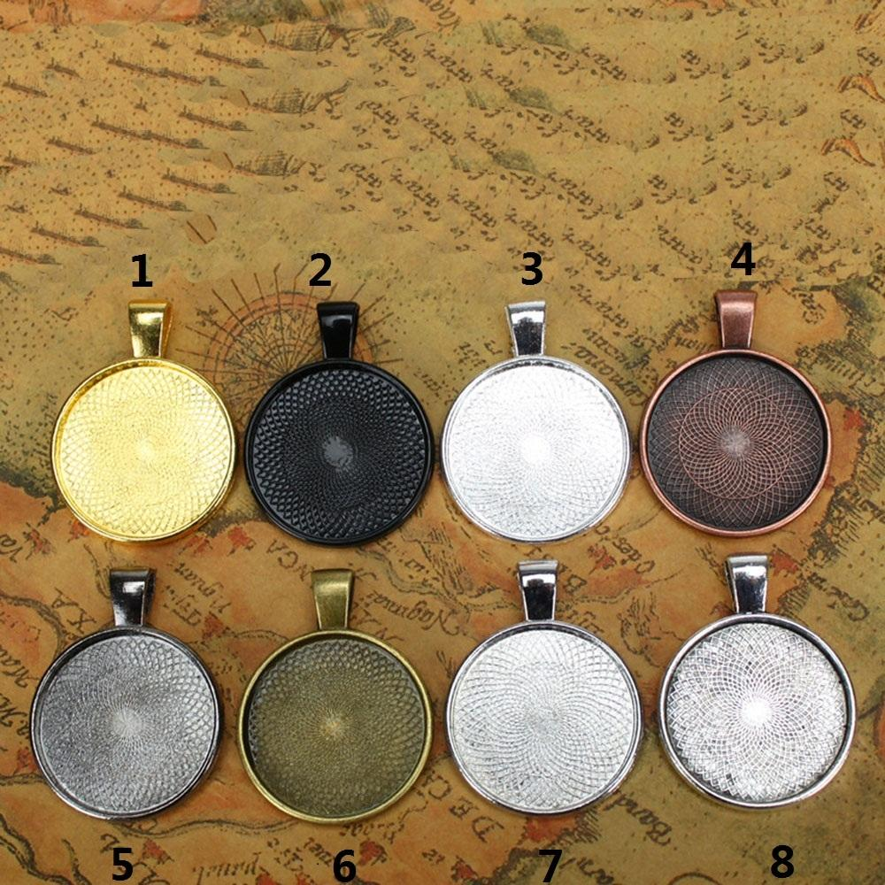 10pcs Multi Colors 25mm Necklace Pendant Setting Base Tray Bezel Blank Fit 25mm Cabochons Jewelry Making