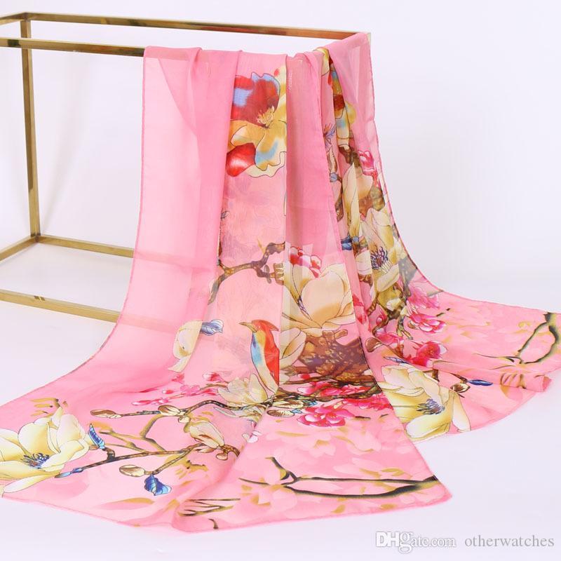 Sciarpe di seta urbana della sciarpa delle donne della protezione solare della seta stampata accessori di abbigliamento vendita calda asciugamano lungo del tovagliolo del tulipano all'ingrosso