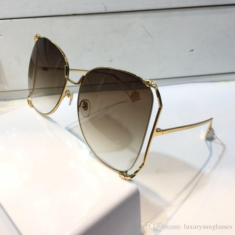 ترف 0252 نظارات المرأة مصمم أزياء شعبية كبيرة جوفاء الإطار الصيف نمط أعلى جودة عدسة uv حماية تأتي مع القضية