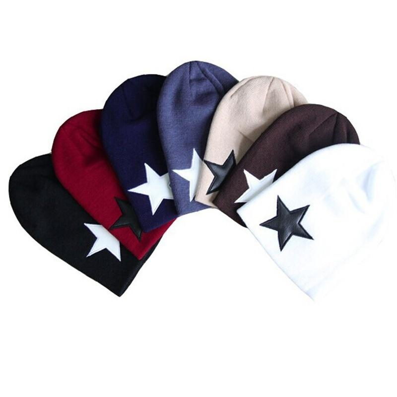 Casual Style Women Men Pentacle Star Warm Skull Beanie Hip-Hop Knit Cap Comfortable Crochet Cuff Hat Winter Gift Y18110503