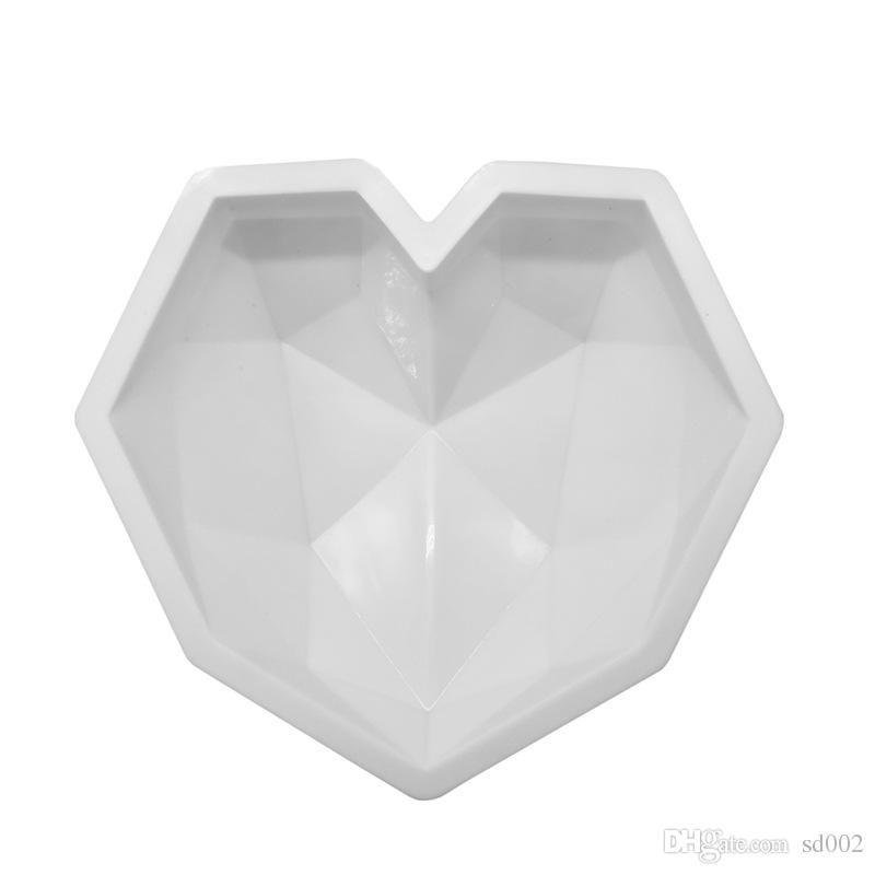الماس الحب شكل قلب موس العفن مقاومة للحرارة سيليكون كعكة العفن صديقة للبيئة الشوكولاته أدوات المطبخ الخبز جودة عالية 16 8HC ZZ