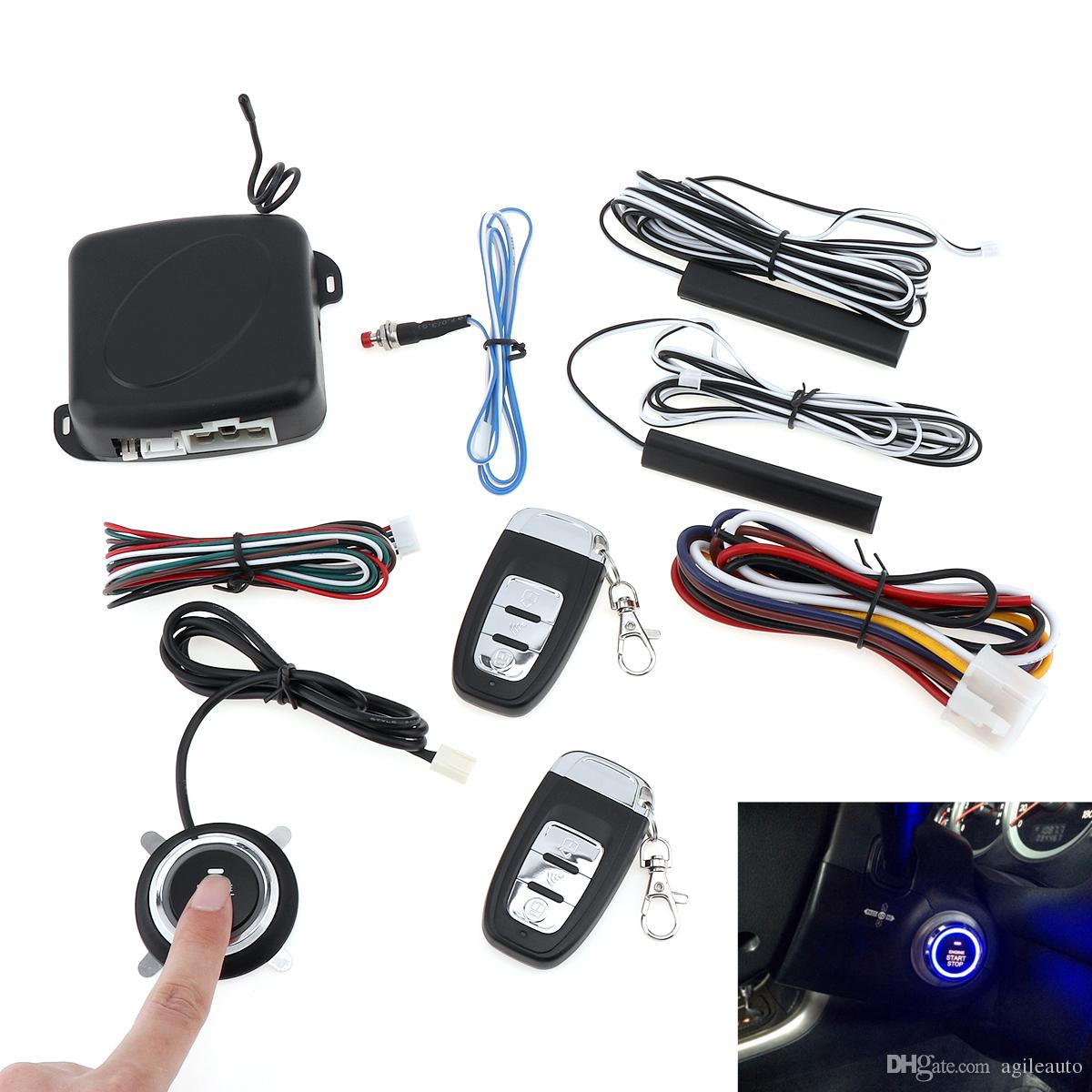 Universal Smart Auto Car Alarm Engine Starline Start Stop RFID Lock Ignition Switch Keyless Entry System Starter Anti-theft System CAL_10E