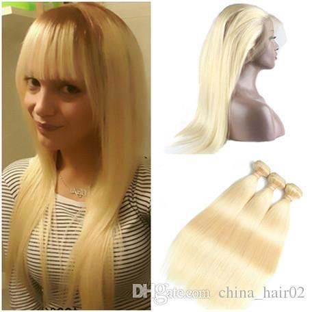 Cheveux Humains Brésiliens Blonds Vierges 3Bordeaux Avec 360 Frontaux Droite # 613 Blonde 360 Dentelle Frontale Fermeture Pré Plumée avec Tissage