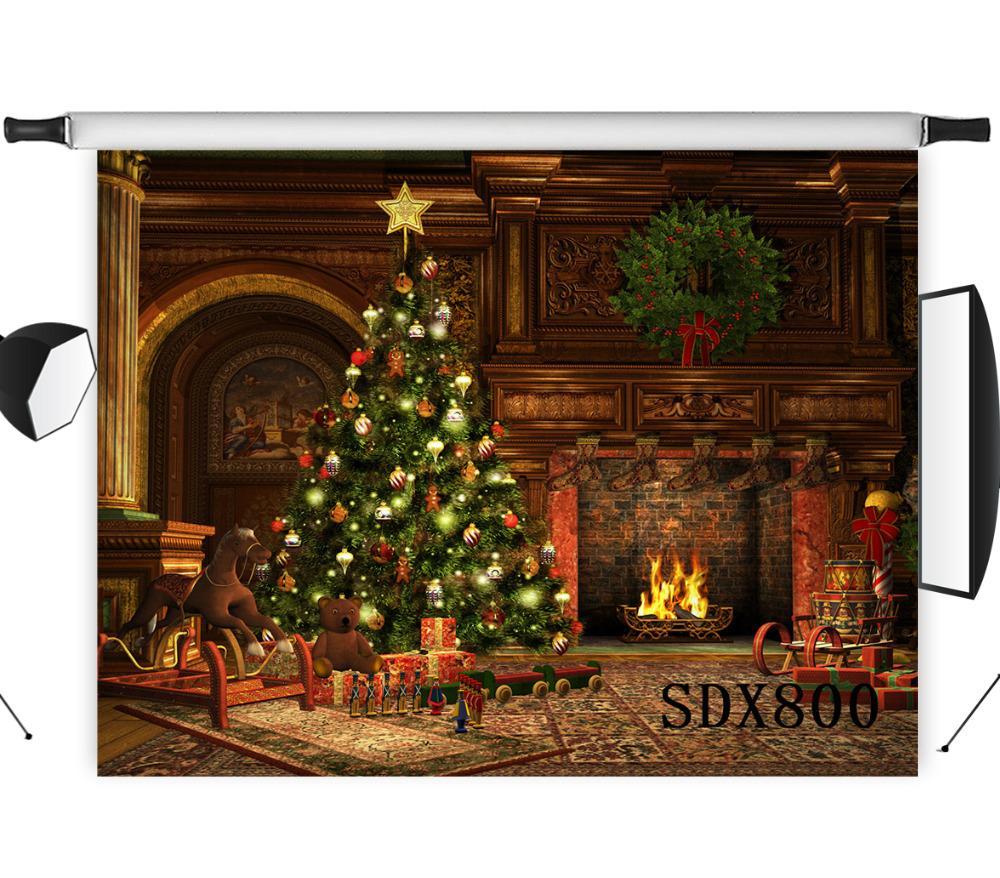 도매 폴리 에스터 비닐 크리스마스 트리 따뜻한 벽난로 선물 백 드롭 배경 사진 스튜디오 배경 사진 소품 장식