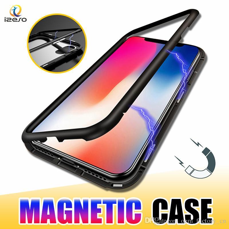 Магнитный телефон чехол для iPhone 12 11 Pro Xs Max XR 8 Полное покрытие из алюминиевого сплава Рама с Закаленное стекло Задняя обложка izeso