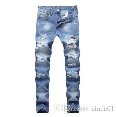 غسل الأزياء الثقوب المكسورة جينز سليم صالح ذكر ده مين السراويل المستقيمة للرجال شارع العليا ارتداء ساحة كبيرة 42