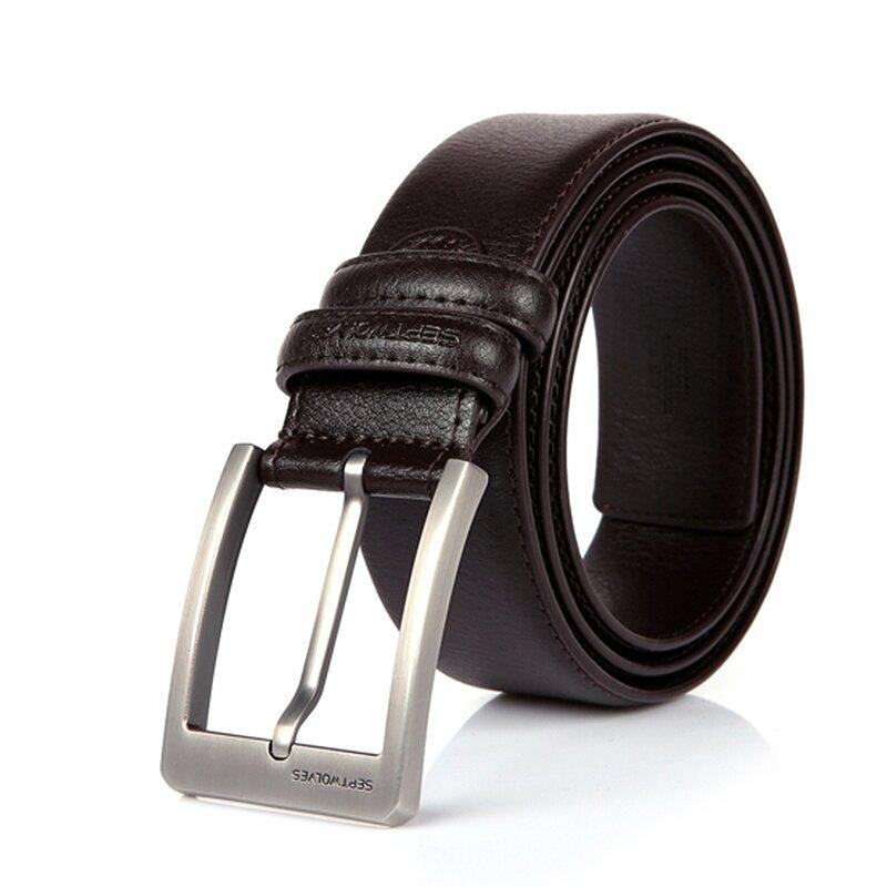 SEPTWOLVES Mens Casual Genuine Leather Dress Belt with Jeans Classic Buckle
