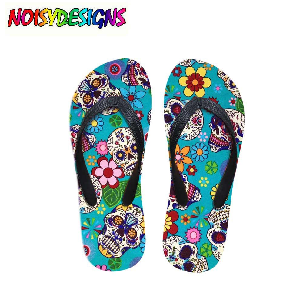 2018 Fashion Vintage Summer Beach Flip Flops Women Slippers Cute 3D Skull Head Bone Printed Sandals Lady Flats Shoes Mujer