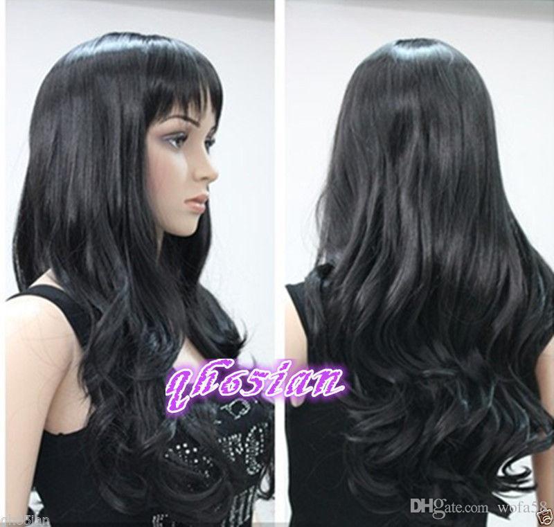 FIX431 Nuevo estilo encantador peluca de pelo negro rizado largo Pelucas para mujeres