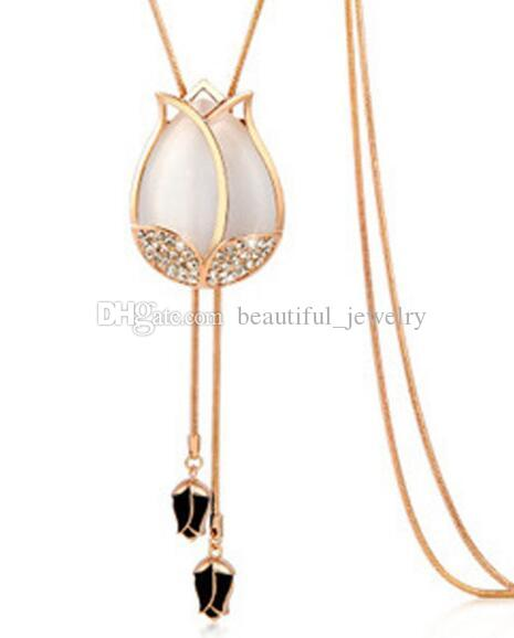 New tulip necklace long sweater chain opal necklace women's fashion matching clothes accessories fashion classic exquisite