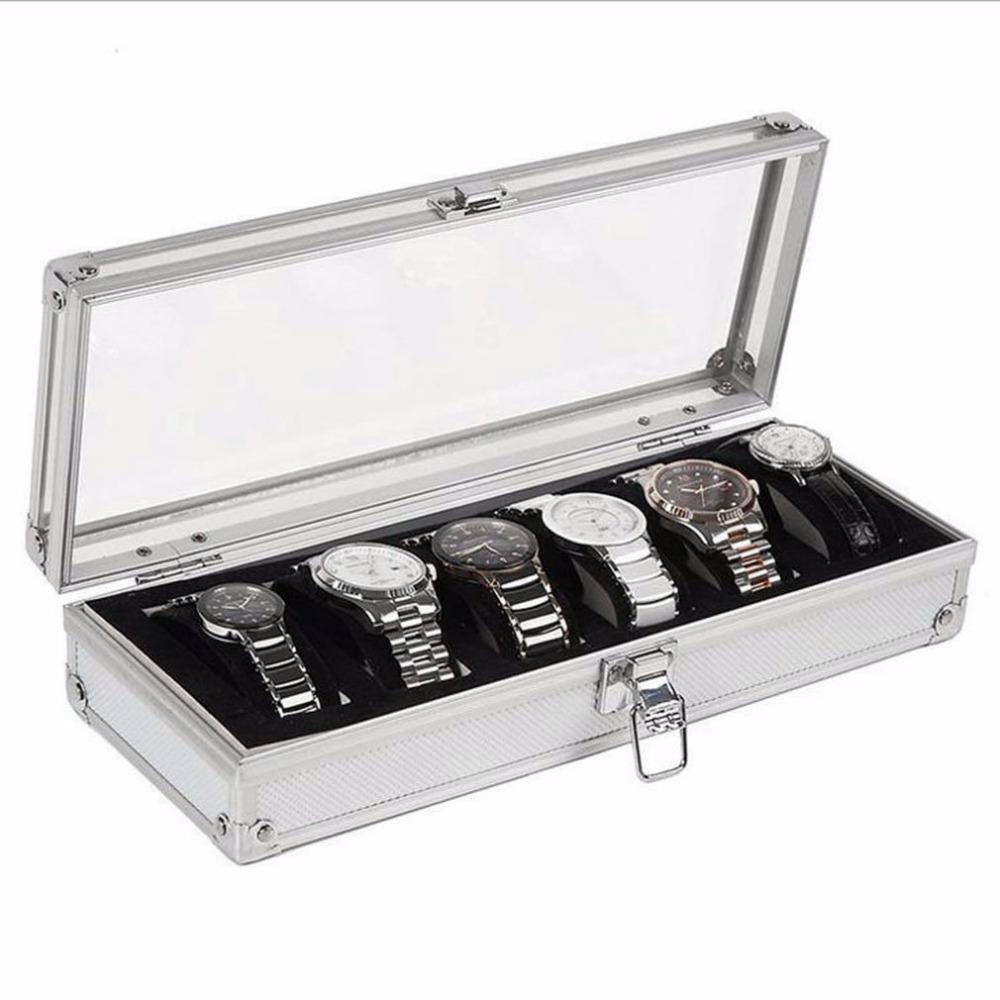 ووتش الإطار 6 الشبكة إدراج فتحات مجوهرات ساعات العرض الديكور صندوق التخزين حالة الألومنيوم مجوهرات ويندر