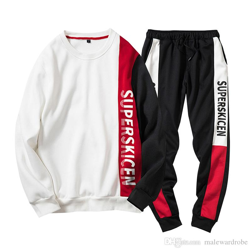 Autunno Uomo 2 pezzi Temi Fashion Letters SUPERSKICEN Designer Hoodie Long Jogger Pants 2pcs Sets Tute
