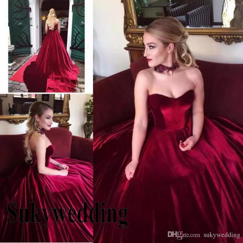 Elegante Borgonha Velvet Dresses Prom querida mangas bola Vestidos Lace Up Corset Pageant Vestido Plus Size Partido Evening Formal Wear