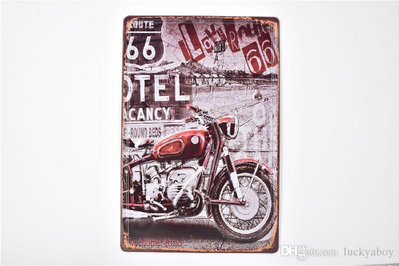 Motocicleta Motel 66 Vintage 3D en relieve Rústico Casa Bar Pub Hotel Restaurante Cafetería casa Metal Retro Metal Cartel de chapa