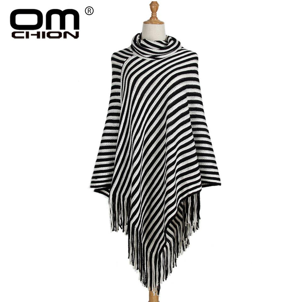 OMCHION Vintage Black And White Striped Tassel Poncho 2018 New Autumn Turtleneck Sweater Women Irregular Casual Pullover QMY63