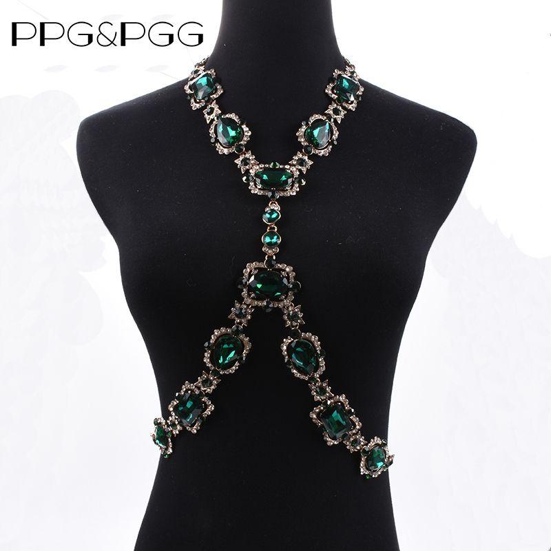 PPGPGG Bohomian Fashion Body Jewelry Cristal Verde Gargantilla Maxi Collar Llamativo Cadena Para Las Mujeres